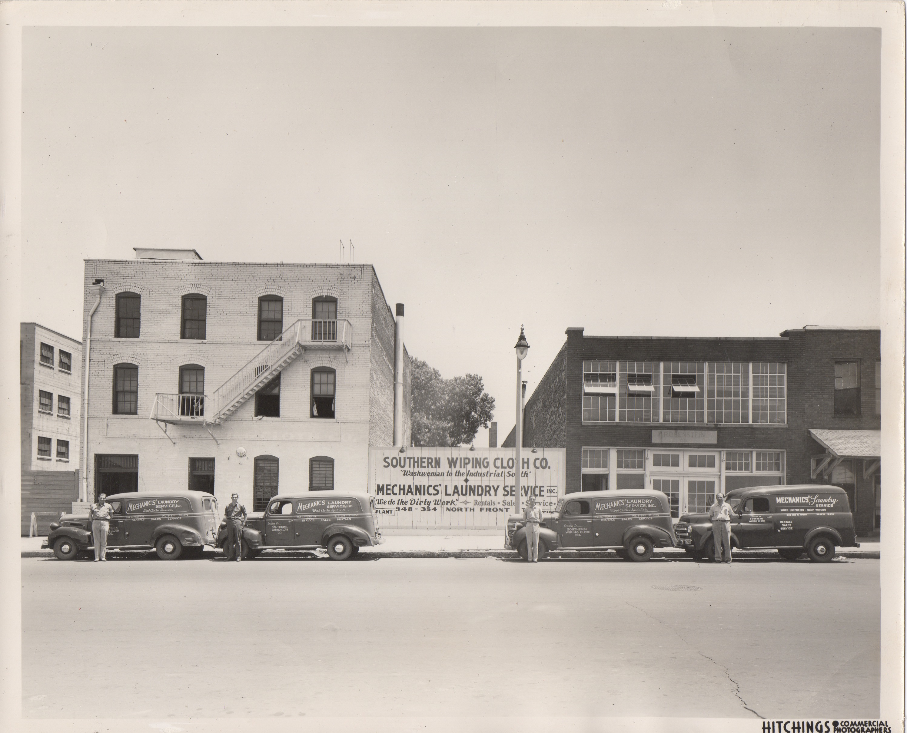 c. 1949. 348 North Front Street, Memphis, TN (across from current Bass Pro Shop). President (and route driver) Morris Caen at right (others unknown).